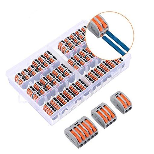 Charminer Lever-Nut Surtidas Conector, Bloque de Terminales de Barra de Presión Bilateral,Electrical Terminal Block, Conductores de Surtido Conectores de Cable Compacto [60 piezas]