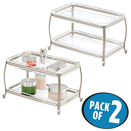 MetroDecor mDesign Clear Double-Tier Vanity Tray for Cosmetics, Perfume and Jewelry - Pack of 2, Satin/Clear (Perfume Vanity)