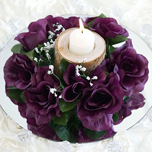- BalsaCircle 8 Eggplant Purple Silk Roses Candle Rings - Artificial Flowers Wedding Party Centerpieces Arrangements Bouquets Supplies