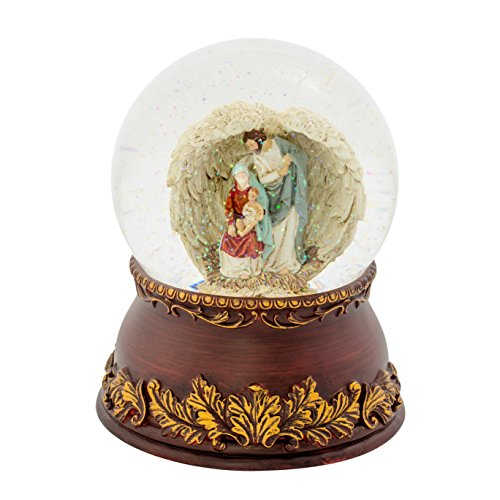 Holy Family Angel Wings Filigree 120MM Musical Glitterdome Water Globe Plays O Come All Ye Faithful by Roman