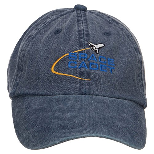 E4hats Space Cadet Embroidered Washed Cap - Navy OSFM