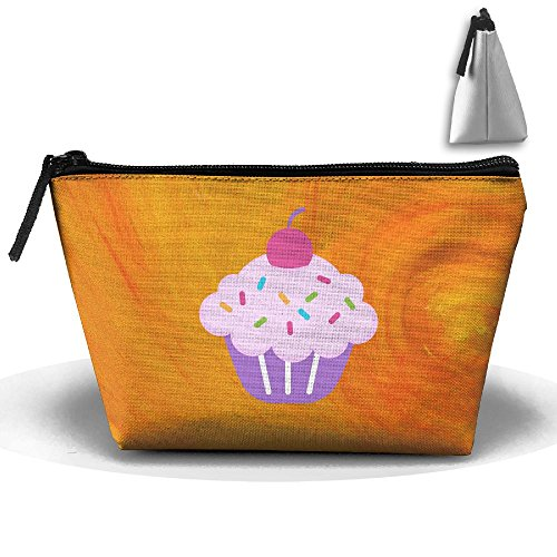 Pink Cake Trapezoid Travel Bag Portable Storage Pouch Makeup Waterproof Toiletry Cosmetic Bags Brush Zipper Wallet Hangbag Pen Organizer Carry Case Wristlet Holder