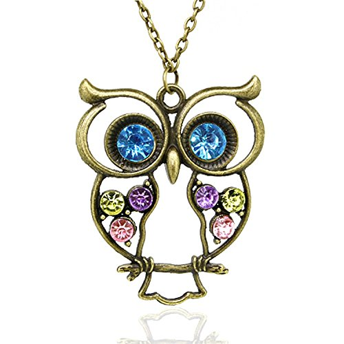 Lot Jewelry - (Lot of 10Pcs) Wholesale Vintage, Retro Colorful Crystal Owl Pendant and Long Chain Necklace (Design No.1 x 10 Pcs)