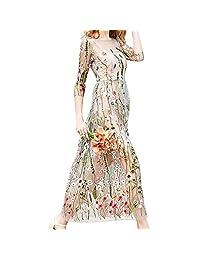 Vestido Largo de Verano, Cuello Redondo Manga Larga Floral Bordado Brote Tela de Seda Retro Vestido de Las Mujeres(2XL)