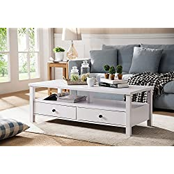 Smart Home Furniture Modern Drawers Display Deck Living Room Coffee Table (White)
