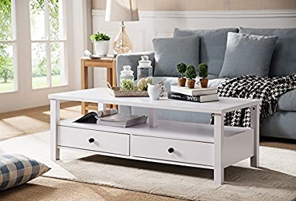 Smart Home 161563CT Display Deck Coffee Table (White)