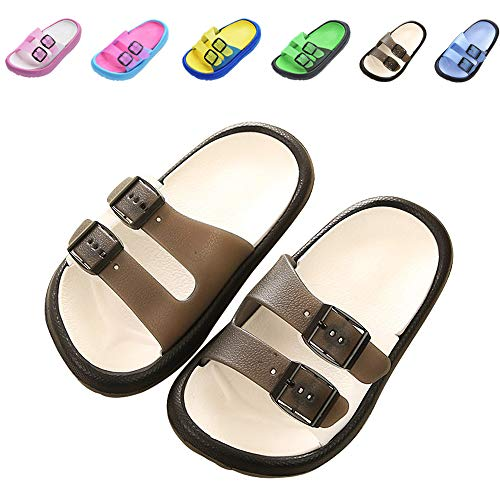 Toddler Little Kids Summer Sandals Non-Slip Boy Girl Slide Lightweight Beach Water Shoes Shower Pool Slippers (10-10.5 M US Little Kid, Black)