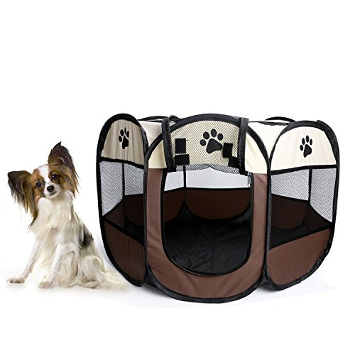 Foldable Dog Cat Playpen Yard Security Kennel Mesh Shade Cover Fence Tent For Indoor Outdoor