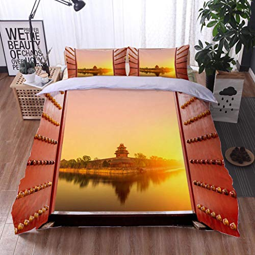 BEISISS Bed Comforter - 3-Piece Duvet -All Season, Beijing The Imperial Palace Watchtower,HypoallergenicDuvet-MachineWashable -Twin-Full-Queen-King-Home-Hotel -School