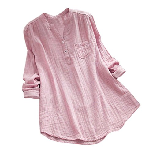 - EnjoCho Women Stand Collar V-Neck Long Sleeve T Shirt Casual Loose Fit Tunic Tops Blouse Blouse (Size:L, Pink)