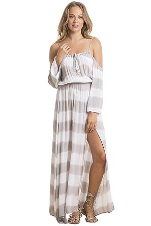ELAN Women s Cold-Shoulder Maxi Dress (Frost Grey Stripe 3a65011509