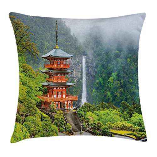 Lunarable Asian Throw Pillow Cushion Cover, Far Eastern Culture Temple Trees and Fall Foggy Mystical Asian Scenery Zen Picture, Decorative Square Accent Pillow Case, 40 X 40 inches, Green Red ()
