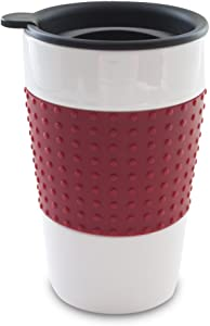 Smart Planet EC-7TMR Eco Travel Mug with Red Sleeve and Black Drink Through Twist Lid, 12-Ounce