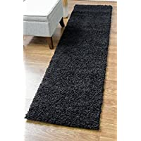 Super Area Rugs, Cozy Solid Black High Pile Shag Rug Runner, 2' 7' x 8'