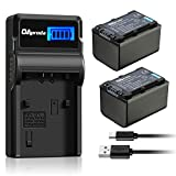OAproda 2 Pack NP-FV70 Battery and LCD Display USB Charger for Sony HDR-SX45, SX85, XR260V, CX190, CX200, CX210, CX260V, CX580V, CX760V, PJ200, PJ230, PJ260V, PJ710V, PJ760V, TD20V Handycam Camcorder