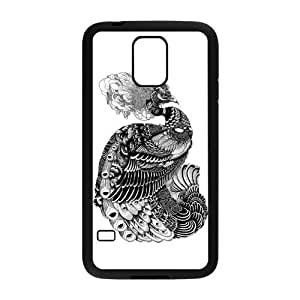 Black and White Peacock Rubber Samsung Galaxy S5 Case Cover Kimberly Kurzendoerfer