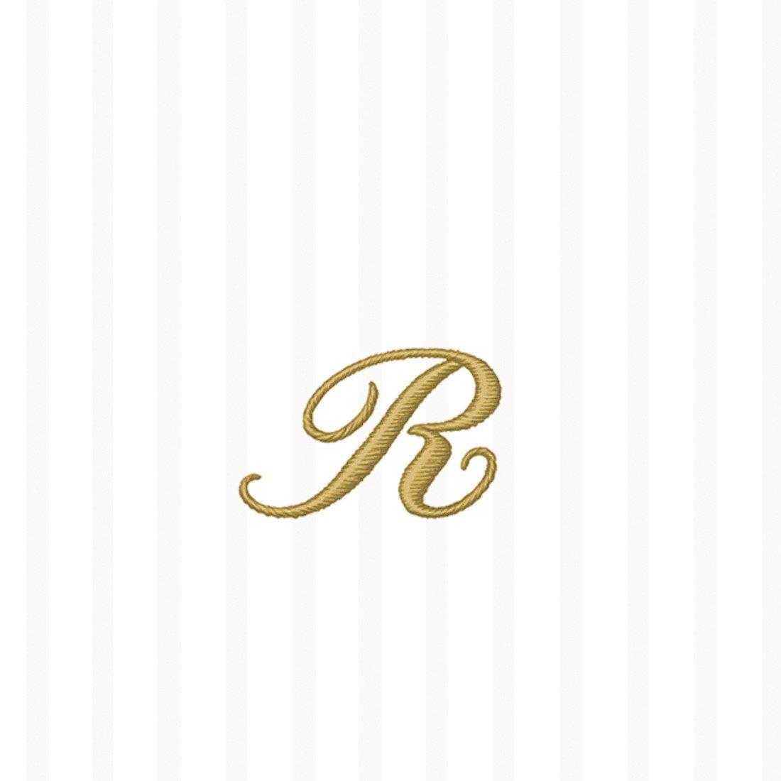 Ideal Home Range 20-Count 3-Ply Paper Stripes Again Monogram Cocktail Napkins, R, Ivory Stripe