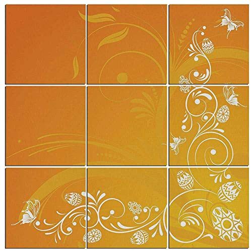 iPrint Canvas Art Orange Wall Decor 9 Panel Canvas Artwork Modern Pictures Framed Ready to Hang -,Easter Themed Abstract Composition with Ornate Flora Eggs and ()