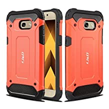 Galaxy A5 2017 Case, J&D [ArmorBox] [Dual Layer] Hybrid Shock Proof Protective Rugged Case for Samsung Galaxy A5 (Release in 2017) (Coral Orange)