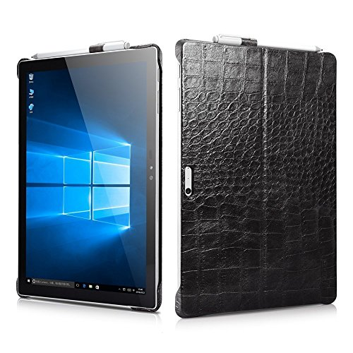 Price comparison product image Microsoft Surface Pro 4 Case Aroko Crocodile Series Genuine Leather Back Cover with Pen Holder and Stand Function for Microsoft Surface Pro 4 12.3 Inch