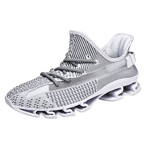 (New!!!!! Respctful ♫♫Men's Blade Sneakers Mesh Breathable Fashion Sports Casual Walking Running Shoes White)