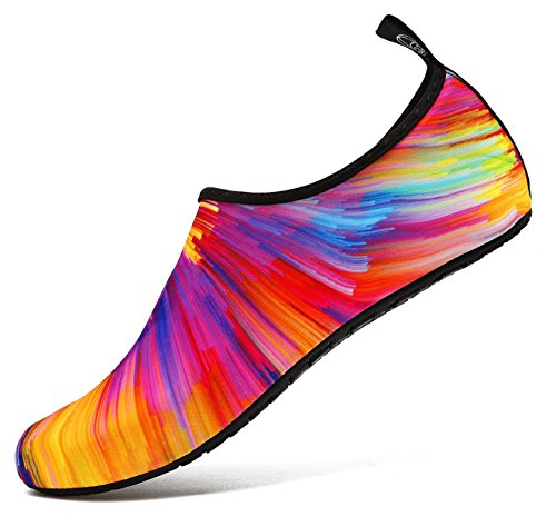 Lightweight Quick Dry Aqua Socks for Child Women and Men Water Shoes Suitable for Swimming (Colorful 36)