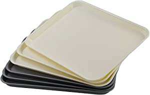 Rinboat 6-Pack Plastic Fast Food Trays Serving Trays, Yellow and Medium Gray