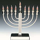 Chrome Plated Electric Menorah with Flickering Bulbs