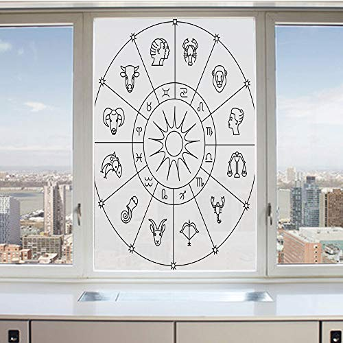 3D Decorative Privacy Window Films,Sketchy Zodiacal Circle with Astrology Signs Aries Aquarius Pisces Lion Art,No-Glue Self Static Cling Glass Film for Home Bedroom Bathroom Kitchen Office 24x36 Inch