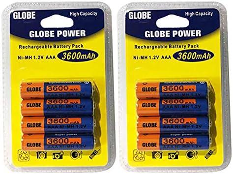 Lote de 8 Pilas Pilas baterías AAA LR03 1.2 V Ni-MH batería Recargable Mignon 3600 mAh | sustituye a los Pilas AAA 1.5 V | AAA LR03 LR3 R03 R3 H03 H3