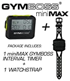 Gymboss Bundle - 2 Items: 1 miniMAX Interval Timer and Stopwatch + 1 Watch Strap (Black w/Yellow Buttons, One Size Fits All)