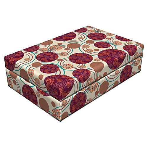 Lunarable Geometric Circle Pet Bed, Ring Spherical Disco Balls Dot and Stripes Swirls Display Print, Animal Mat Foam and Stylish Printed Cover, 24