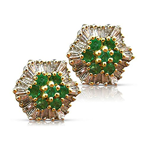 1.70CT DIAMOND & AAA EMERALD 14KT TWO TONE GOLD FLOWER EARRINGS #11562 14kt 2 Tone Diamond Earrings