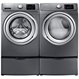 Appliances : Samsung- High-Efficiency Front-Loading Laundry Featuring 4.2 CF Washer with Steam and Matching GAS 7.4 CF Dryer with SteamPlus Matching Storage Pedestals(WF42H5200AP+DV42H5200GP+WE357AOPX2)