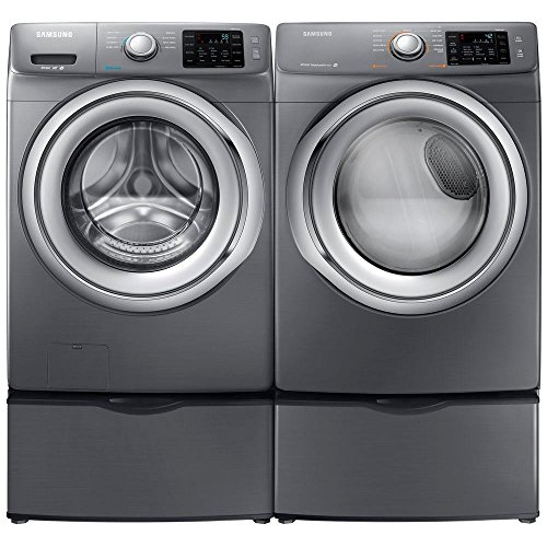 Samsung- High-Efficiency Front-Loading Laundry Featuring 4.2 CF Washer with Steam and Matching GAS 7.4 CF Dryer with SteamPlus Matching Storage Pedestals(WF42H5200AP+DV42H5200GP+WE357AOPX2)