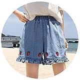 Floral Women Shorts Denim High Waist Shorts Kawaii Ruffles Cartoon Strawberry Embroidery Casual Elastic,Q Ian LAN,M