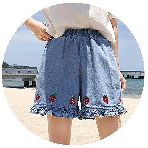 Floral Women Shorts Denim High Waist Shorts Kawaii Ruffles Cartoon Strawberry Embroidery Casual Elastic,Q Ian LAN,M by LOKOUO Shorts