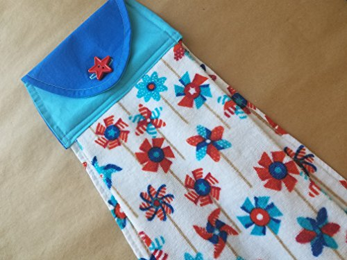 Pinwheels Hanging Kitchen Towel, Stars Button Top Dish Towel, Americana, Red, White and Blue, 4th of July, Memorial Day, Summer Kitchen Linens, Modern Patriotic Home Decor Dish Pinwheel