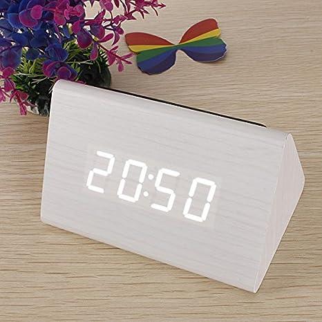 Audew Reloj despertador Marco triangular rojo de alarma de madera LED digital dígitos Madera Reloj Term