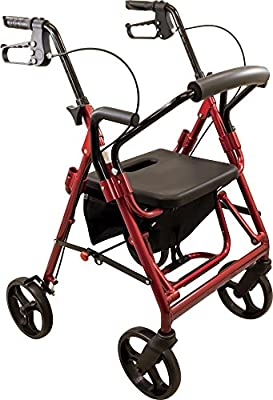 Roscoe Medical Deluxe Transport Rollator with Padded Seat