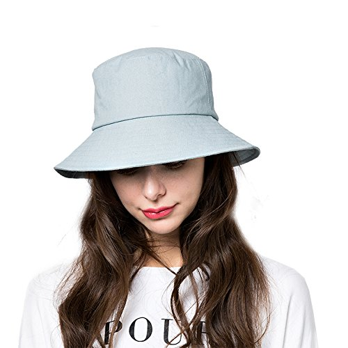 Cap Cotton Straw (Bucket Sun Hat,Women Cotton Bucket Cap Summer Foldable Beach Hat with Wide Brim (B7-water Blue))