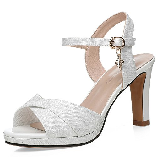 Female heels Fish Buckle Thick Shoes Mouth High High Summer With White Sandals Heels Jqdyl 5HTwtqx