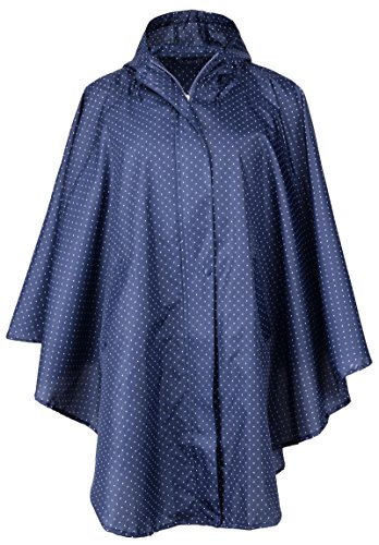 QZUnique Women's Waterproof Packable Rain Jacket Batwing-sleeved Poncho Raincoat,Blue ()