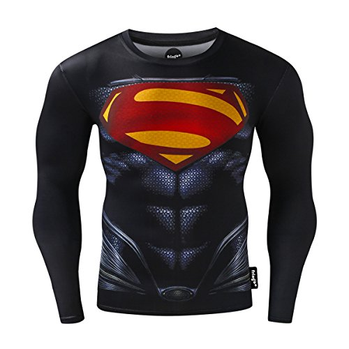 Fringoo® Mens Compression Superhero Top Base Layer Gym Long Sleeve Running Thermal Sweatshirt Workout T-Shirt Spider…