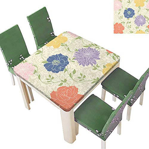 Printsonne Polyester Fabric Tablecloth Floral Wallpaper with Pastel Colored Flowers,Seamless,Elegant Suitable for Home use 23 x 23 Inch (Elastic Edge) ()