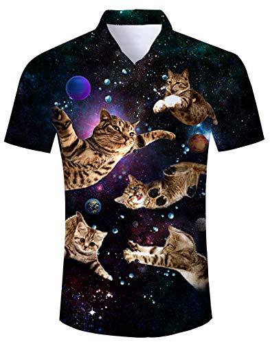 Fanient Mens Galaxy Cat Hawaiian Shirts Summer Casual Printed Button Down Dress Shirt XL ()