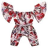 Okgirl Newborn Infant Baby Girl Clothes Floral Romper Off The Shoulder Bodysuit Playsuit Jumpsuit 0-18M