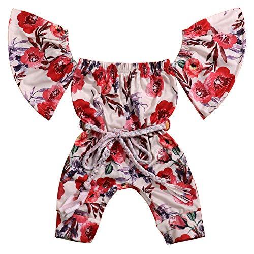 Okgirl Newborn Infant Baby Girl Clothes Floral Romper Off The Shoulder Bodysuit Playsuit Jumpsuit -