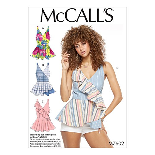 - McCall's M7602A50 Misses' Mock Wrap Top with Peplum and Flounce Options Sewing Pattern, 6-8-10-12-14