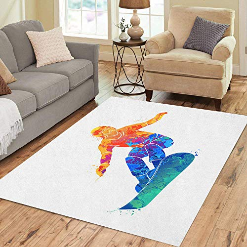 Pinbeam Area Rug Watercolor Snowboard Snowboarder Jumping Sport Extreme Abstract Action Home Decor Floor Rug 5' x 7' Carpet (Ft Snowboard 5)